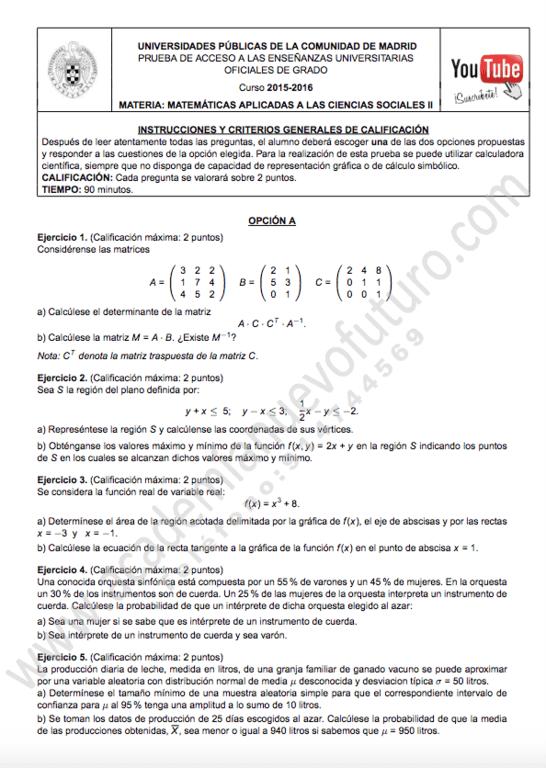Exámenes De Matemáticas De Selectividad 2020 Para Descargar Cursosmasters Com