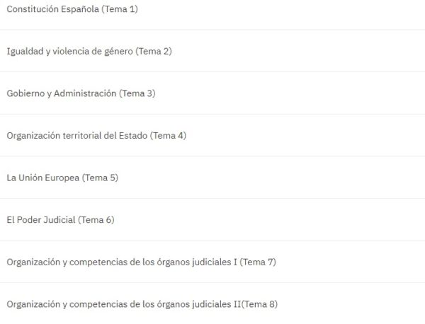 Oposiciones Auxilio Judicial 2022 temario 1