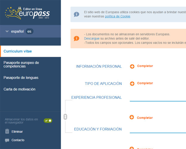 Crear curriculum Europass