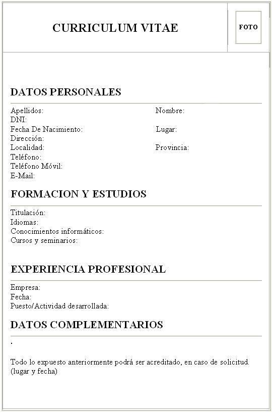 Modelo De Curriculum Vitae 2014