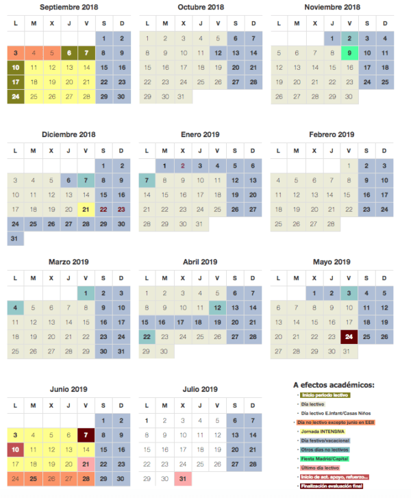 Calendario 2019 Escolar 2020 Madrid.Calendario Escolar Curso 2019 2020 En Madrid Cursosmasters